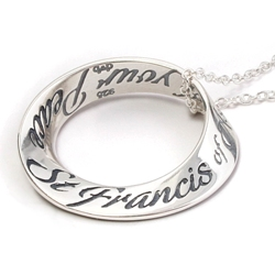 St. Francis Prayer Mobius Necklace (silver)