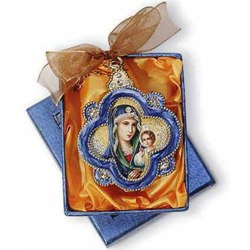 Virgin & Child Jeweled Ornaments - Virgin & Child Jeweled Ornament (red star)